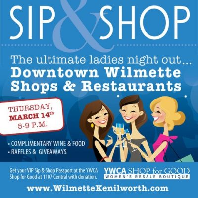 Sip & Shop Event in Downtown Wilmette on March 14, 2019