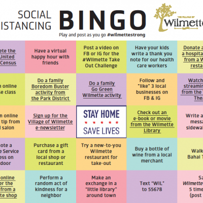 Play Wilmette's Social Distancing Bingo Game!